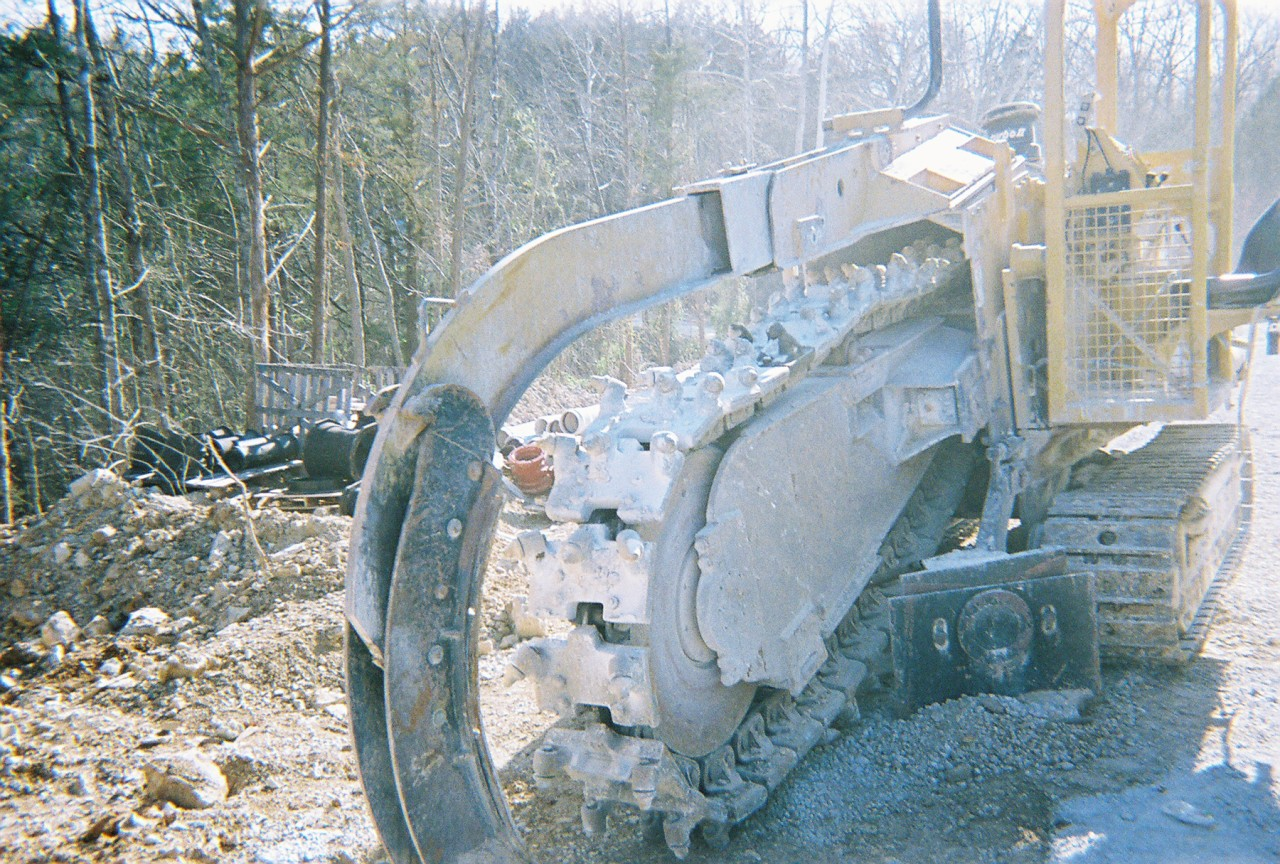 This Vermeer trencher from Garner Equipment makes an 18-inch cut, six feet deep.