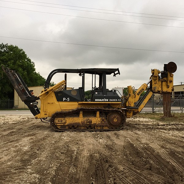 Komatsu D65EX-12 w/ double reel carrier and Capstan power feed, offered by Garner Equipment.